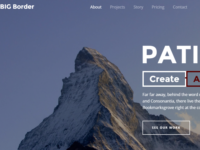 Creative One Page Parallax Bootstrap Template Big Border By