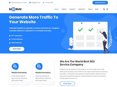 Seorun - Digital Marketing Agency WordPress Theme social media smm services seo sem search roi responsive optimization marketing engine digital corporate business agency