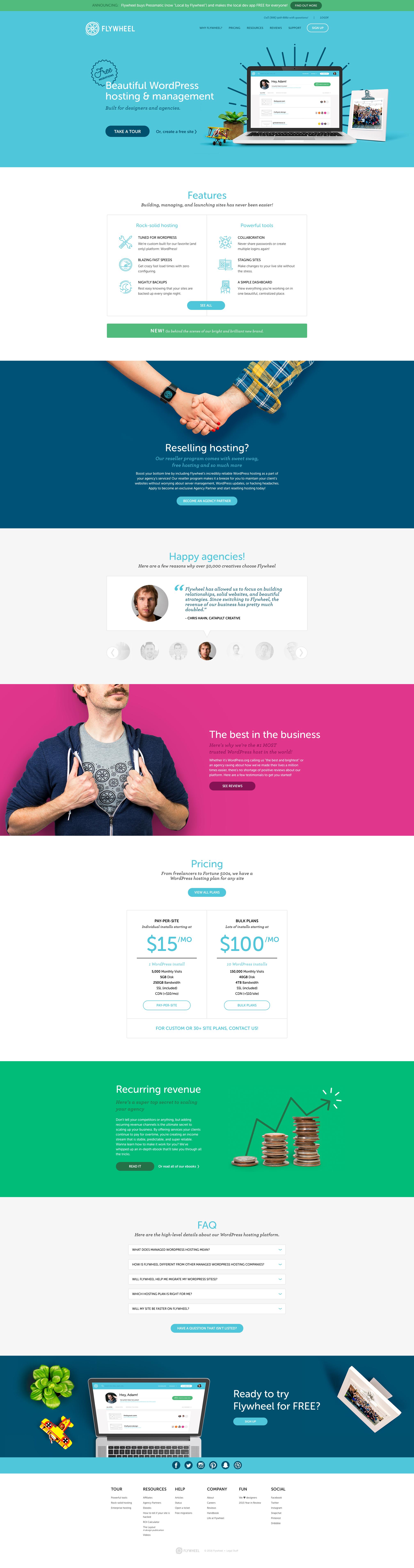 Dribbble flyhweel homepage in full