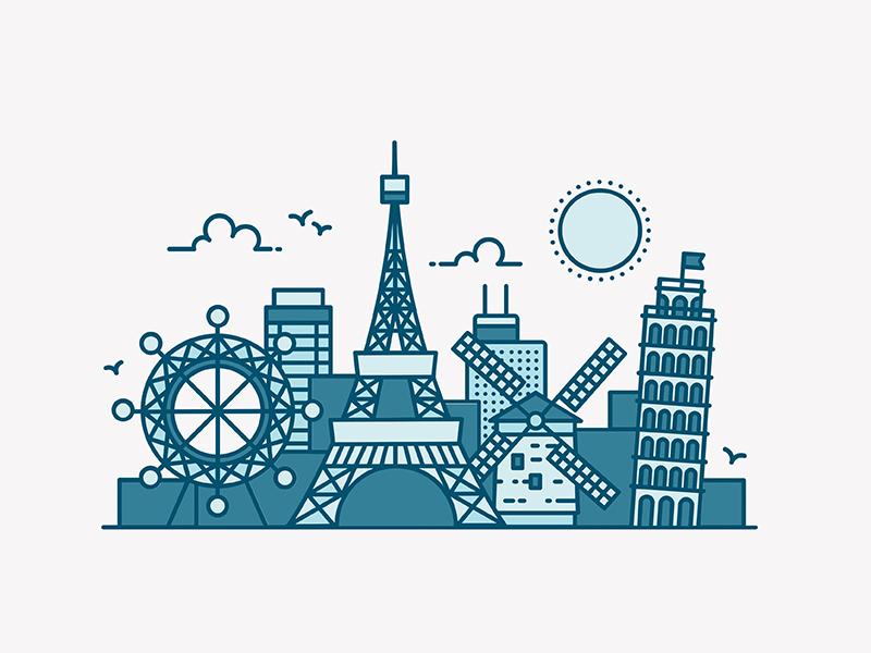 Europe Skyline vector pisa ferris wheel skyline illustration iconography buildings architecture eiffel tower italy paris europe