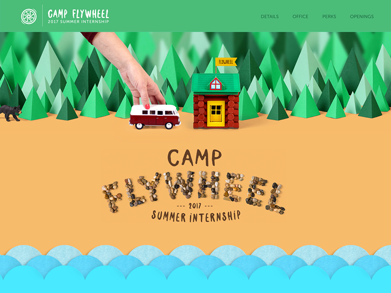 Camp Flywheel - Microsite one page scroll camping camp parallax playful bright wes anderson website microsite