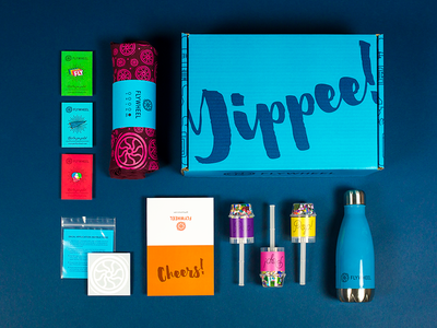 """""""Yippee!"""" Swag Box - Contents t-shirt swell bottle swag package design direct mail packaging clamshell cardboard 3d promotional advertising"""