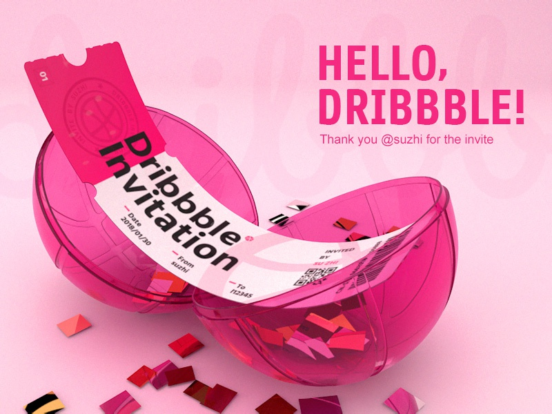 Hello Dribbble! pink hello basketball shot egg thanks invite first shot c4d 3d