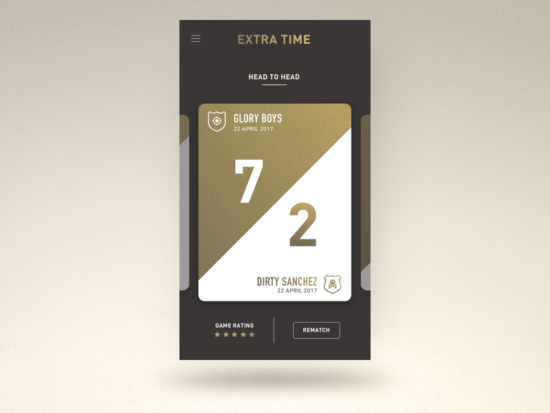 Extra Time ui app dark isoflow gold team football soccer