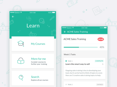 Learning Platform UI mobile design screen card pattern training learn material ui