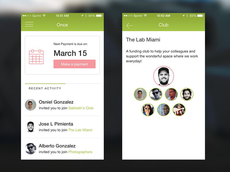 Once App (Battlehack 2014) web app login ui ux design ios hackathon battlehack paypal once
