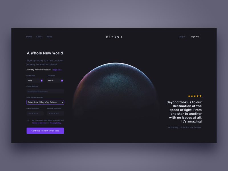 Sign Up createwithadobexd adobexd