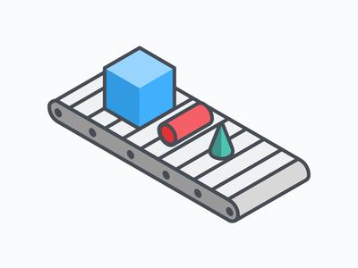 Conveyor Belt isometric primitives illustration