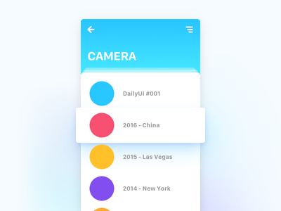 WeeklyUI #001 flat ux blue camera app weekly daily card tomhands ui