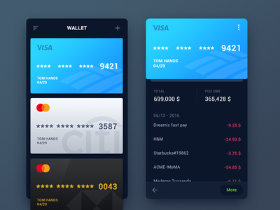 WeeklyUI #002 visa finance app card debit credit payment ui tomhands wallet