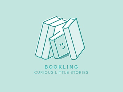 'Bookling' Logo white hiding smiling smile small book happy logo turquoise