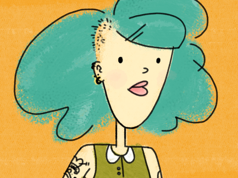 The Girl With Cool Hair orange collar serious cute turquoise colorful tattoo retro illustration hair cool