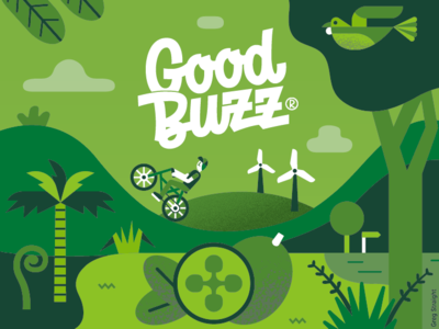 Good Buzz Kombucha label packaging drinks kombucha bike illustration