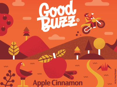 Good Buzz label rebrand packaging apple motorcross illustration