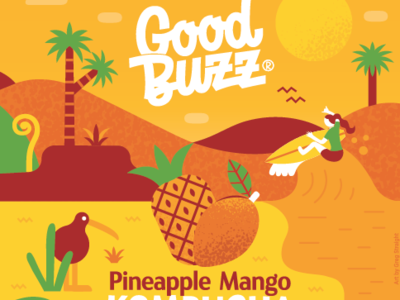 Good Buzz label rebrand packaging surfing illustration