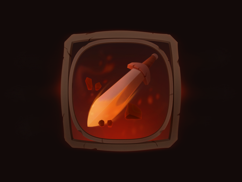 Stone Sword game ui vector interface item special fire frame rpg icon sword gui