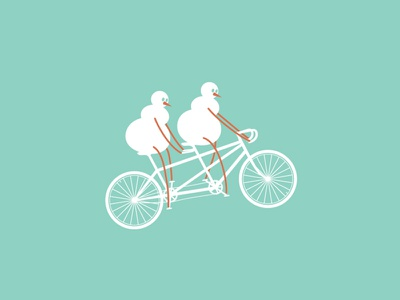 Brace yourself, the snowmen are coming! card graphicdesign graphics flat vector christmas winter tandem bicycle snowmen snowman illustration
