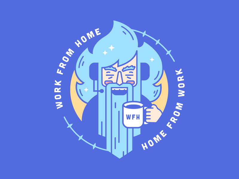 WFH Wizard mage wizard wfh work from home magic sparkle circle zilean coffee seal badge hair old man line art cute blue logo clean flat illustration