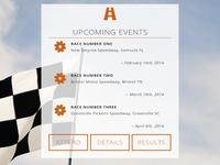 Racing Event Interface