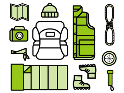 Expedition Set camping icons set illustration