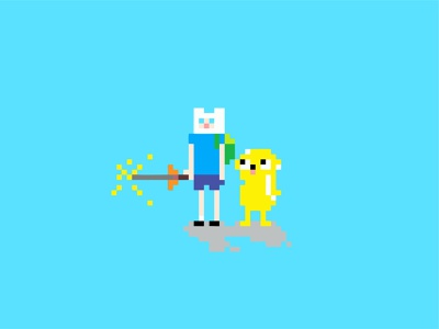 ADVENTURE TIME cartoon 2d art 2d jake the dog finn the human finn pixelart illustration