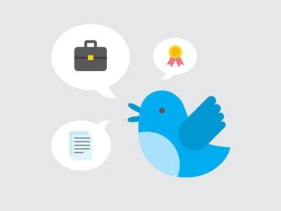 Loudmouth Bird illustration vector twitter bird twitterbird icons blahblahblah