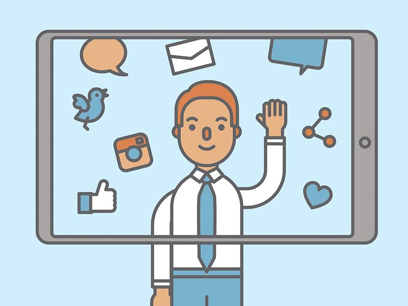Social Media illustration vector email chat twitter instagram facebook social media likes