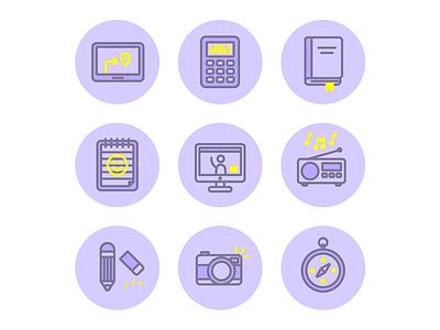 Buncha icons compass camera pencil radio conference skype book notepad calculator icons illustration vector