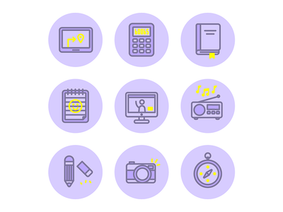 Buncha icons compass camera pencil radio conference skype book notepad calculator icons illustration vector
