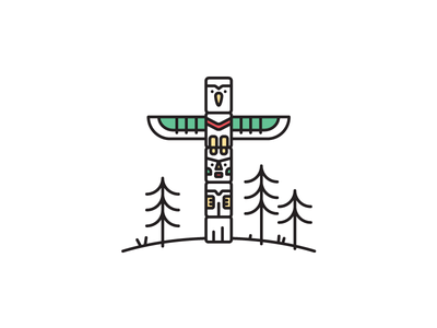 Vancouver Totempole totempole vancouver west coast canada canadian icon vector illustration