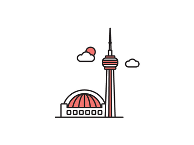 Toronto CN Tower skyline sky dome cn tower toronto canada canadian icon vector illustration