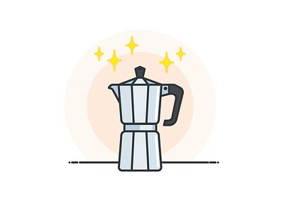 Moka pot morning brew coffee pot caffeine pot moka coffee icon vector illustration