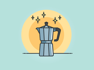Good morning morning brew coffee pot caffeine pot moka coffee icon vector illustration