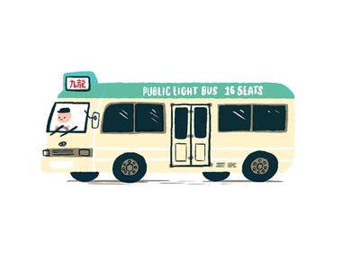 Hong Kong Minibus commute cute travel asia transportation transport bus mini bus hong kong photoshop illustration