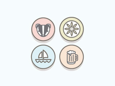 Madison Icon Set 1 badger beer terrace chair sailboat icon illustrations badges