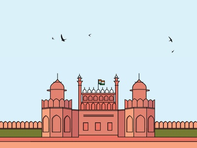 The Red Fort lines flat design india delhi