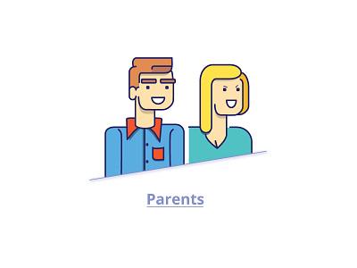 Parent Illustration mother father guardian couples character illustration parents mom dad line art