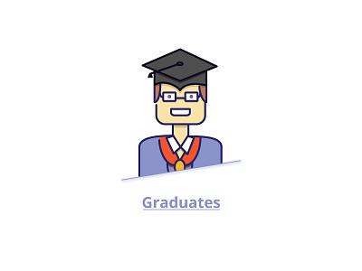 Graduates illustration character line art boy male studious graduates degree