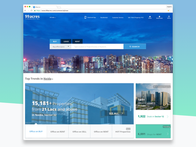 Home page for commercial projects realestate home landingpage homepage explore property commercial 99acres