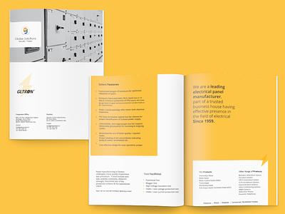 Corporate Profile Design for GLTRON graphic design globe electrical corporate profile brochure logo design