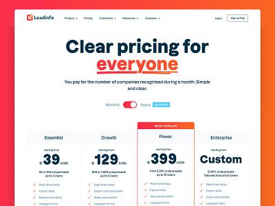 Leadinfo saas landing page saas website website ux ui branding design interface