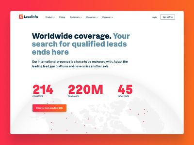 Leadinfo - Worldwide coverage website uiux ui globe design wild-digital illustration interface