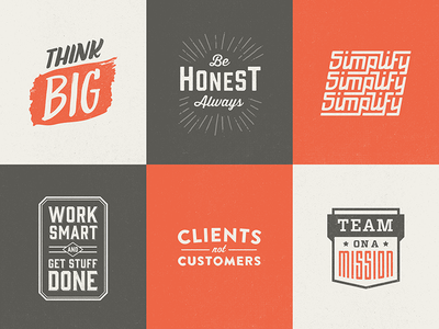 Core values logos logo branding lettering typography type texture color design vintage retro old distressed