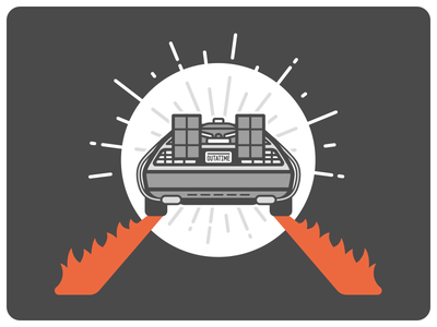 We're going back to the future illustration flat vector back to the future delorean fire flame car movie ebook