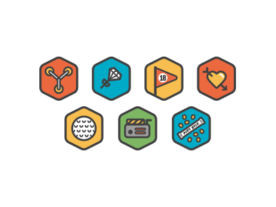 Icons icons vector flat illustration flux capacitor earring golf heart flag pixy stix