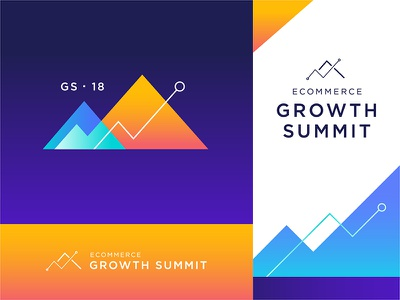 Ecommerce Growth Summit 2018 chart sales mountains growth conference logo ecommerce gradient color branding