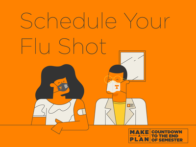 Make A Plan pt. I mask masks band aid flu shot wellness health illo tn illustration design university of tennessee knoxville tennessee planning