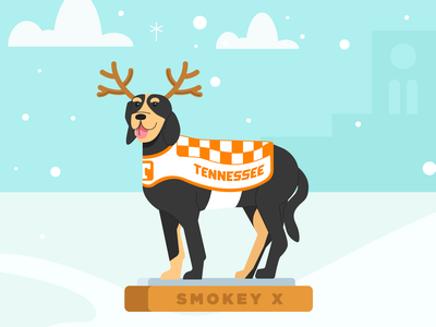 Christmas Smokey statue dog illustration reindeer ayres clouds snow tn knoxville university of tennessee illustration tennessee dog smokey christmas