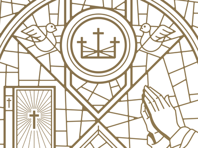 City Church Stained Glass Print pt. I prayer bible dinner meal crown bridge sunsphere rays sun mission family jesus church tn illustration typography type knoxville tennessee stained-glass