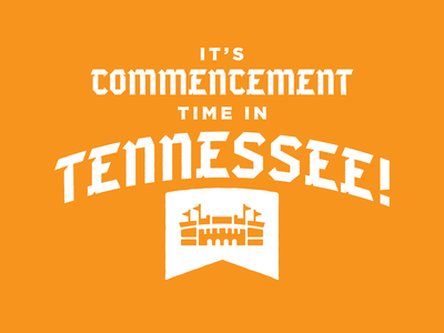 Commencement at Neyland commerce graduation commencement neyland stadium stadium vector university of tennessee tn illustration typography type knoxville tennessee